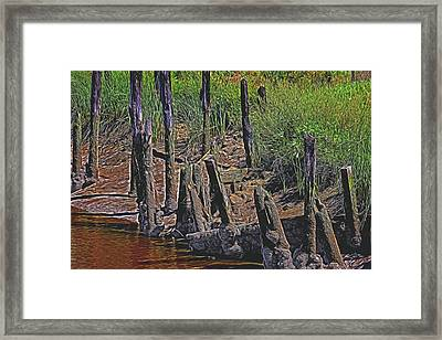 Old Pier Pilings  Framed Print by Garry Gay