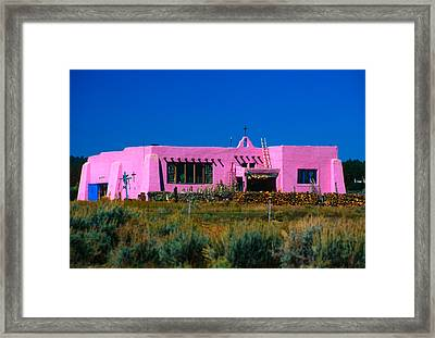 Old Pink Schoolhouse Gallery Tres Piedras Nm Framed Print by Troy Montemayor