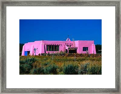 Old Pink Schoolhouse Gallery Tres Piedras Nm Framed Print by Troy Montemayor