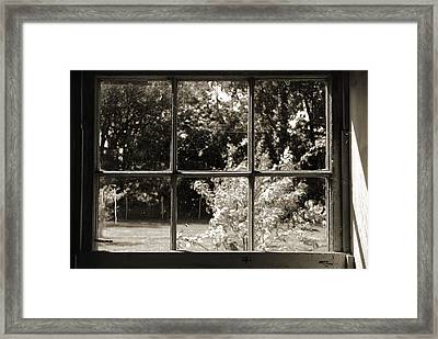 Framed Print featuring the photograph Old Pitted Glass Window 2 by Joanne Coyle