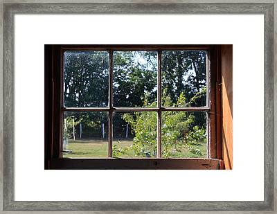 Framed Print featuring the photograph Old Pitted Glass Window by Joanne Coyle