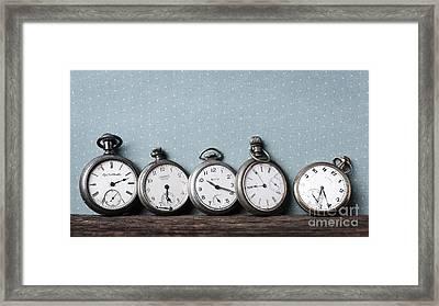 Old Pocket Watches On A Shelf Framed Print