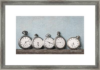 Old Pocket Watches On A Shelf Textured Framed Print