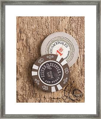 Old Poker Chips Framed Print by Edward Fielding