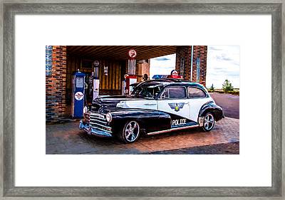 Old Police Cruiser Framed Print by Sharon Vallentiny