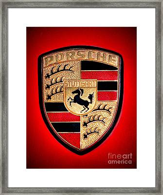 Old Porsche Badge Framed Print by Olivier Le Queinec