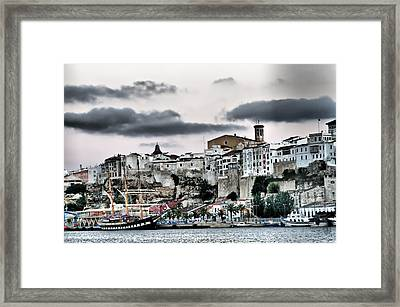 Old Port Mahon And Italian Sail Training Vessel Palinuro Hdr Framed Print