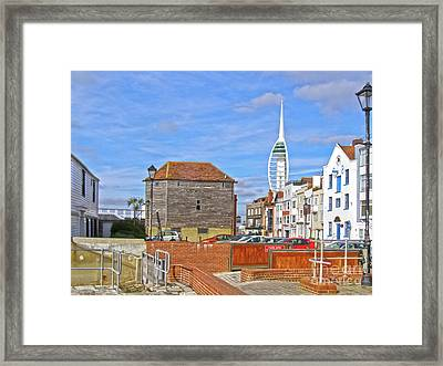 Old Portsmouth Flood Gates Framed Print by Terri Waters