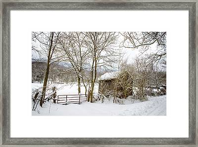 Old Post Office In Snow Framed Print