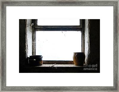 Old Pots And Stoneware Jar On Window Framed Print