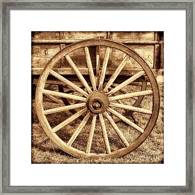Old Prairie Schooner Wheel Framed Print by American West Legend By Olivier Le Queinec
