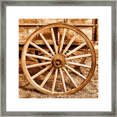 Old Prairie Schooner Wheel - Sepia Framed Print