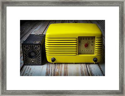 Old Radio And Camera Framed Print