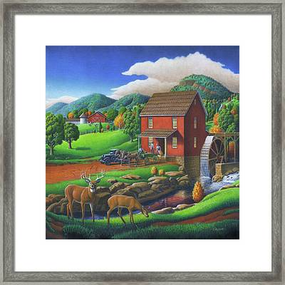 Old Red Appalachian Grist Mill Rural Landscape - Square Format  Framed Print