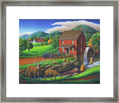 Old Red Appalachian Grist Mill Rural Landscape Oil Painting  Framed Print