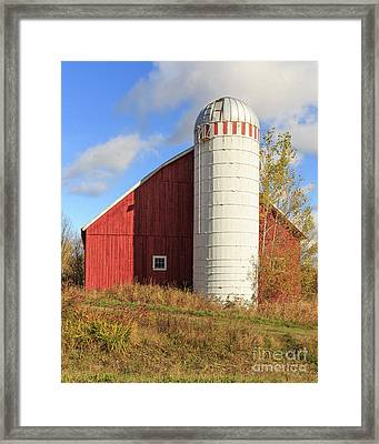 Old Red Barn And White Silo Stowe Vermont Framed Print