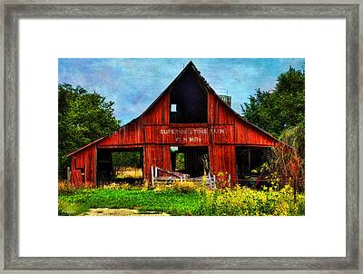 Old Red Barn And Wild Sunflowers Framed Print