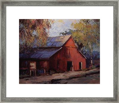 Old Red Barn In The Shadows Framed Print by R W Goetting