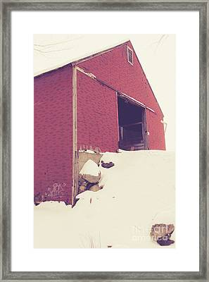 Old Red Barn In Winter Framed Print by Edward Fielding