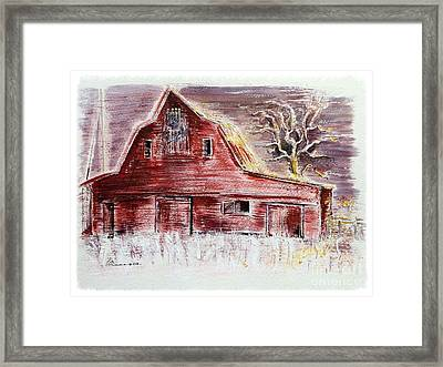 Old Red Barn Stands Loyal To The Royals Framed Print by Barbara Chase
