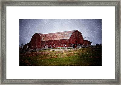 Old Red Barn Framed Print by Maggie Terlecki