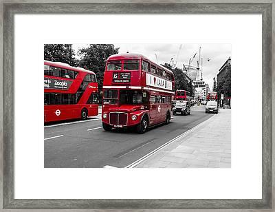 Old Red Bus Bw Framed Print