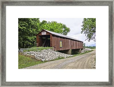 Old Red Covered Bridge Framed Print by Phyllis Taylor