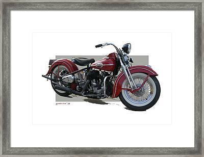 Old Red Harley Davidson Framed Print