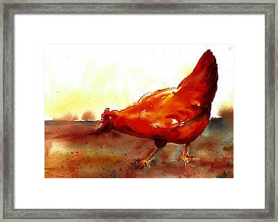 Picking With The Chickens Framed Print