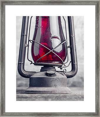 Old Red Hurricane Lantern Still Life Framed Print