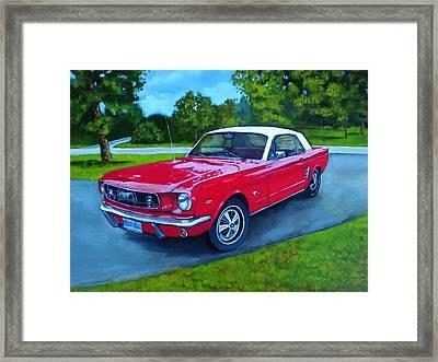 Old Red Mustang Car Framed Print