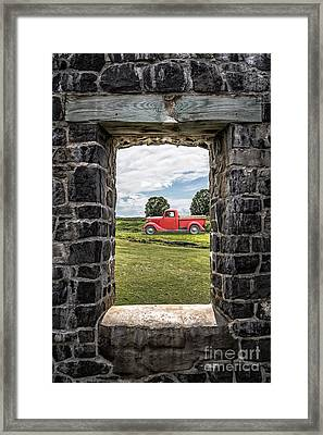 Old Red Pickup Truck Framed Print by Edward Fielding