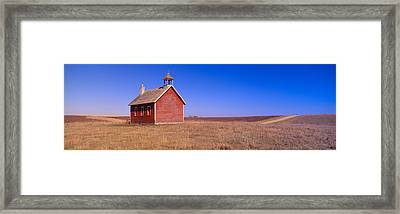 Old Red Schoolhouse On Prairie, Battle Framed Print by Panoramic Images