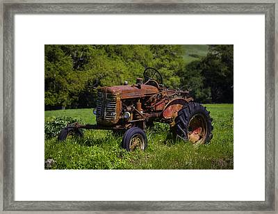 Old Red Tractor Framed Print by Garry Gay