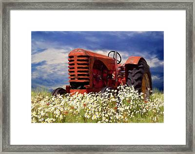 Old Red Tractor Framed Print