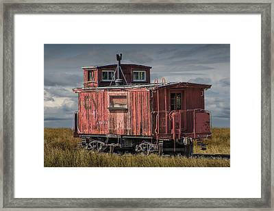 Old Red Train Caboose Framed Print by Randall Nyhof
