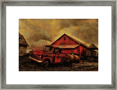 Old Red Truck And Barn Framed Print by Bill Cannon