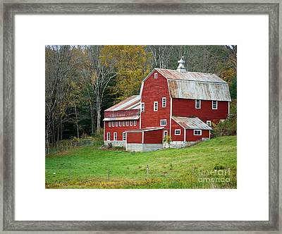 Old Red Vermont Barn Framed Print by Edward Fielding