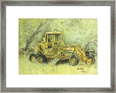 The Old Yellow Road Grader Framed Print by Jerry Bridges