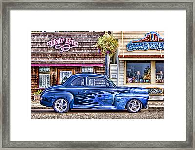 Old Roadster - Blue Framed Print by Carol Leigh