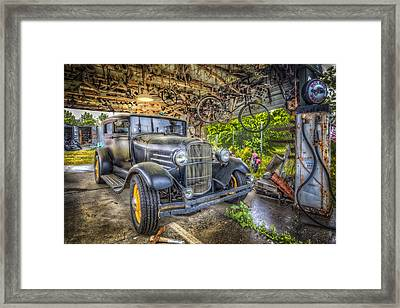 Old Roadster Framed Print by Debra and Dave Vanderlaan