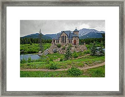 Old Rock Church On A Cloudy Day Framed Print by James Steele