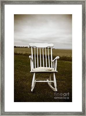 Old Rocking Chair In A Field Pei Framed Print