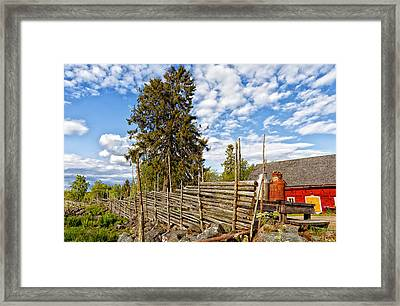 Old Rural Farm Set In A Beautiful Summer Nature Framed Print by Christian Lagereek