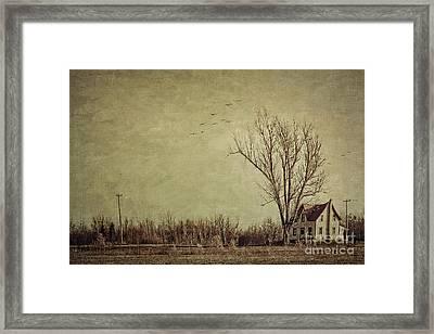 Old Rural Farmhouse With Grunge Feeling Framed Print by Sandra Cunningham