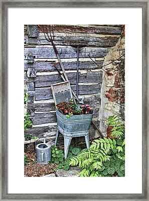 Old Rural Garden Scene Framed Print by Linda Phelps