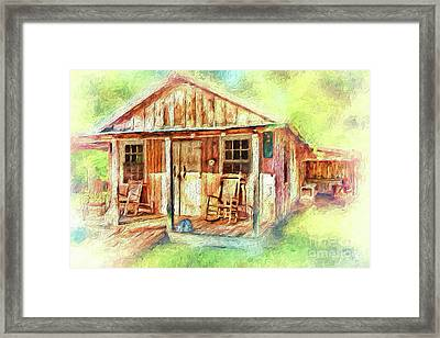 Framed Print featuring the painting Old Rustic House In The Mountains Ap by Dan Carmichael