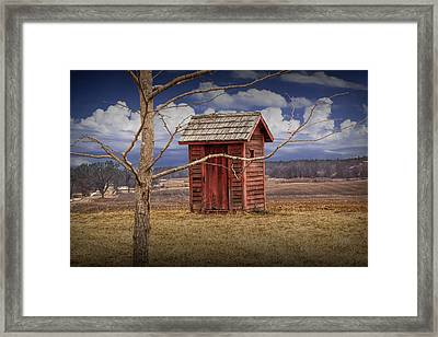 Old Rustic Wooden Outhouse In West Michigan Framed Print