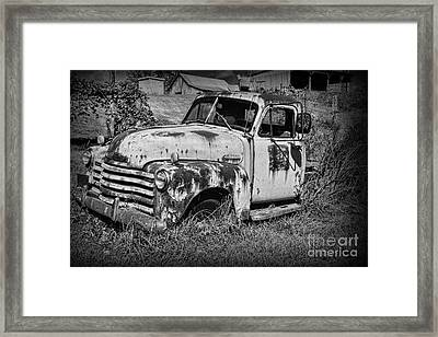 Framed Print featuring the photograph Old Rusty Chevy In Black And White by Paul Ward