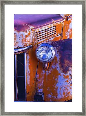 Old Rusty Truck Headlight Framed Print by Garry Gay
